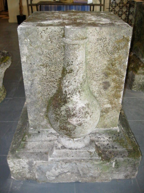 Carved Stone Base : Thc english carved stone pedestal base at stdibs