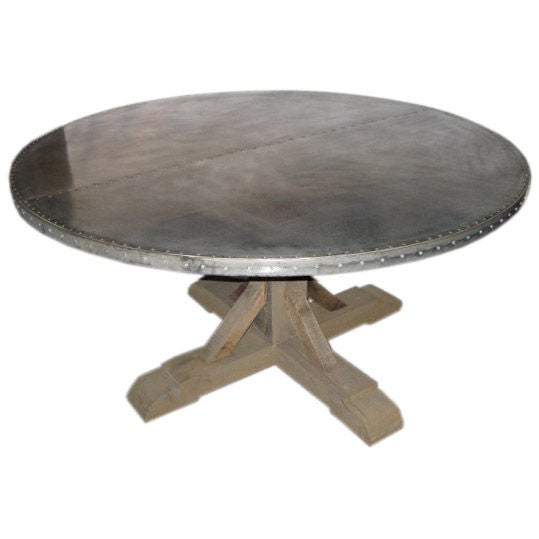 Belgian Round Zinc Top Dining Table At Stdibs - Zinc top dining table