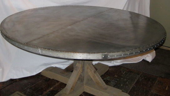 Belgian Round Zinc Top Dining Table At 1stdibs