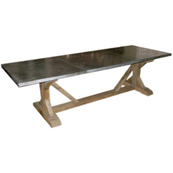 Belgian Zinc Top Trestle Dining Table at 1stdibs : f12811 from 1stdibs.com size 574 x 574 jpeg 16kB