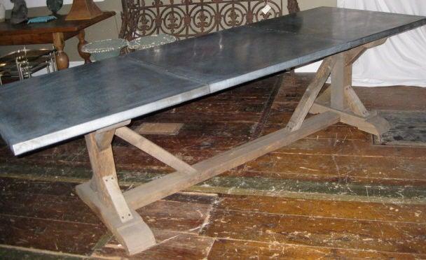 Belgian Zinc Top Trestle Dining Table At 1stdibs
