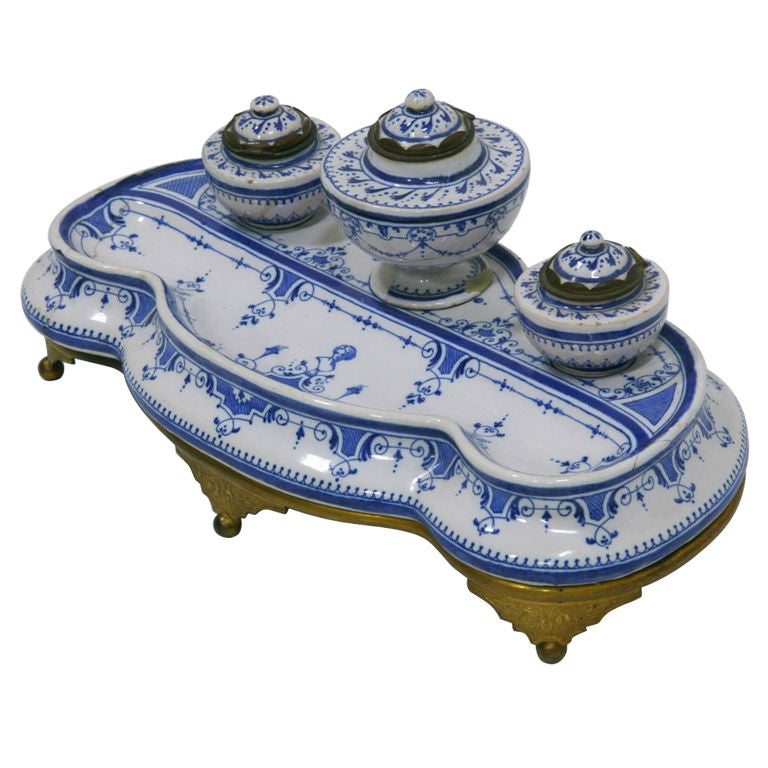 Inkwell Early 19th Century French Faience