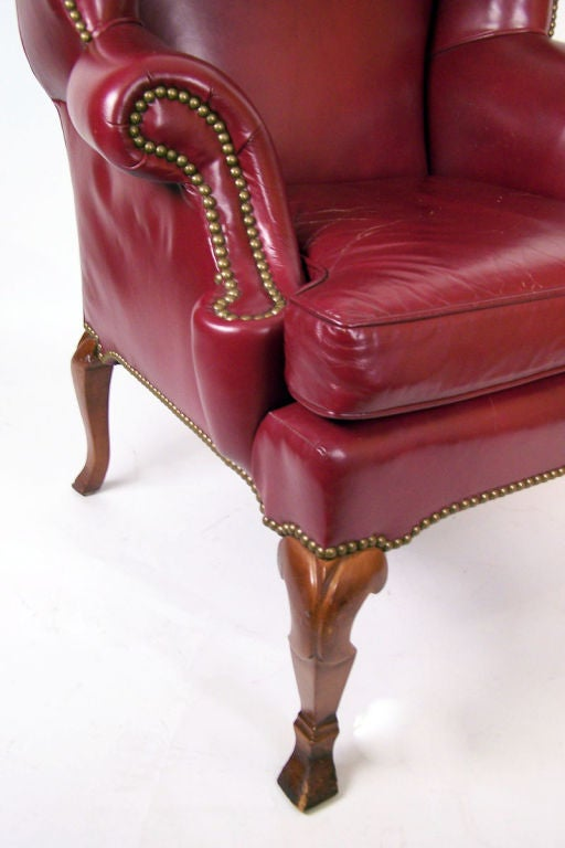 Pair Of Dark Red Leather Wing Chairs At 1stdibs