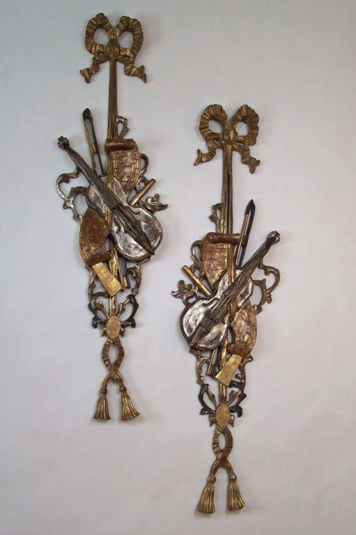 Pair Of Large Italian Carved Wood Appliques At 1stdibs