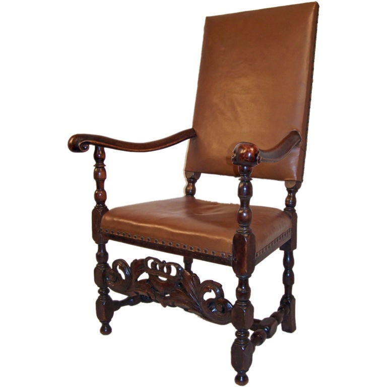 English Wlanut Arm Chair For Sale