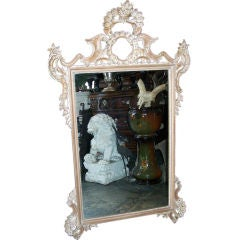 Rococo Style Carved Mirror Italian Mid Century