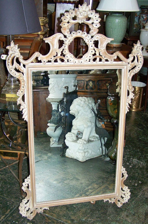 Rococo Style Carved Mirror Italian Mid Century In Excellent Condition For Sale In San Francisco, CA