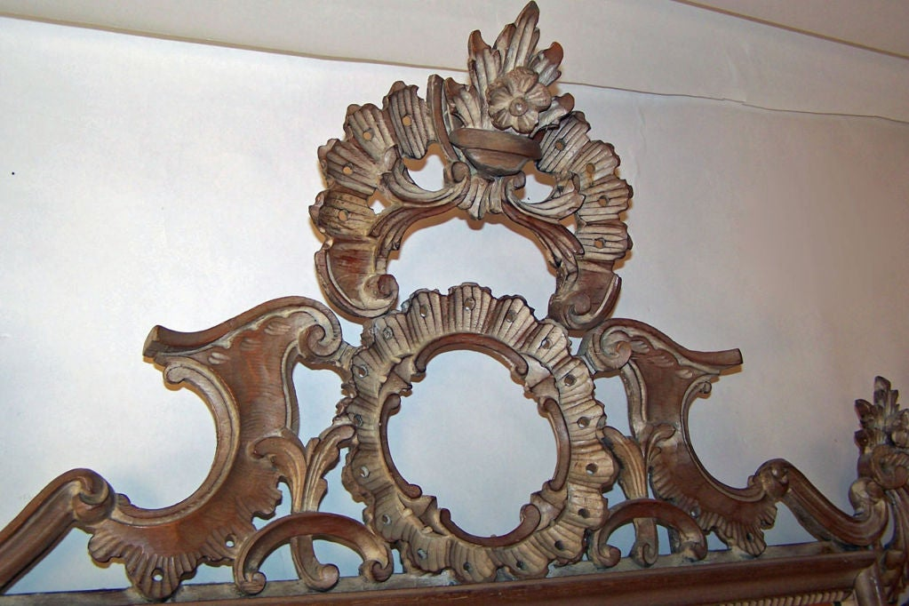 20th Century Rococo Style Carved Mirror Italian Mid Century For Sale
