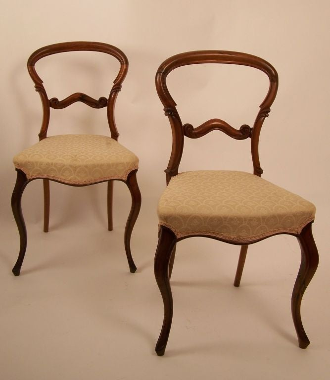 Set Of Six English Victorian Balloon Back Chairs 2