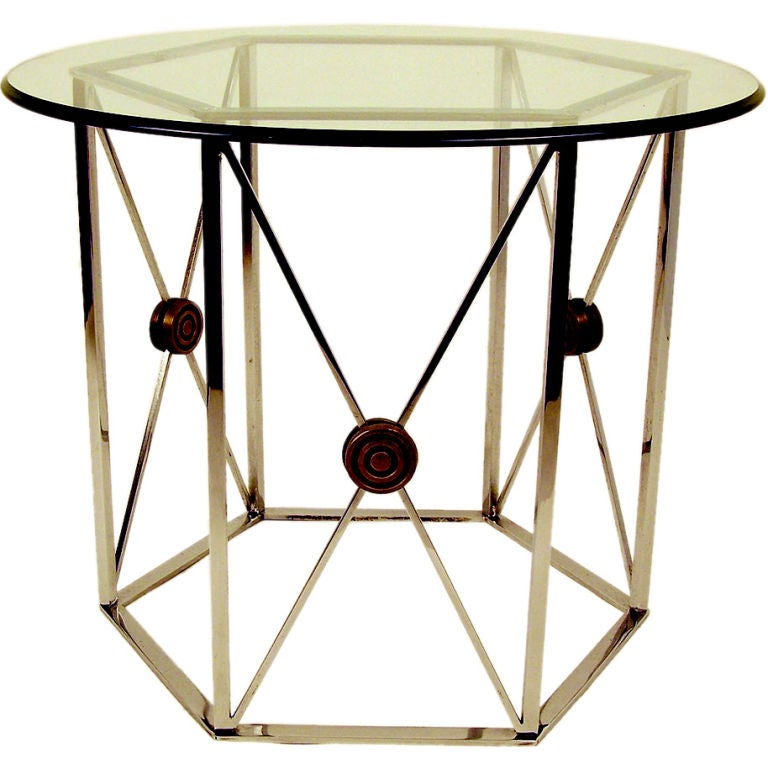 Chrome octagonal side table at stdibs