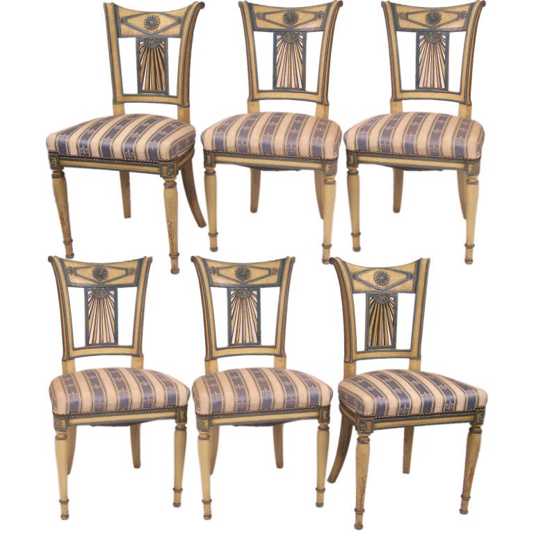 Set of six french regency style chairs at stdibs