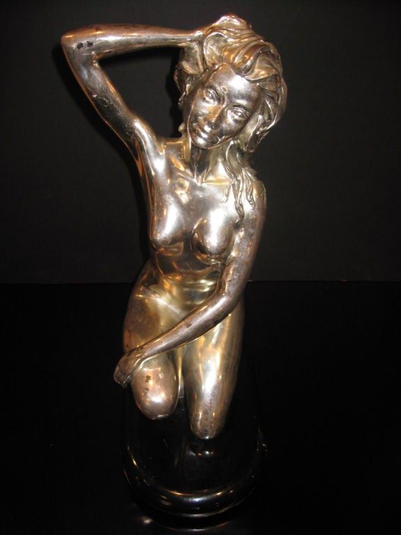 Silver plated nude act, sign but not readable.  Black lacquered wood base.  Pleases note: Item is located at Beverly Store 7274 Beverly Blvd  Los Angeles, CA 90036.