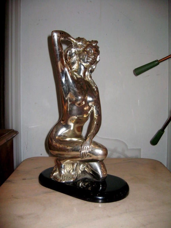 French Deco Nude Lady Statue Sculpture For Sale