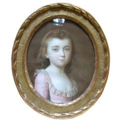 18th Century Pastel Portrait Of A Girl Signed Schmid 1784