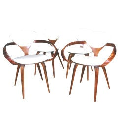 Set Of Four Cherner Plycraft Chairs Include Pair Of Armchairs