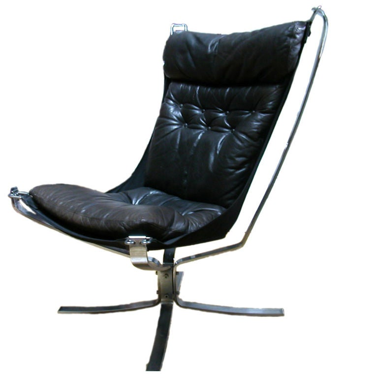 Victorian slipper chair - Chrome And Leather Falcon Chair By Siguard Resell At 1stdibs
