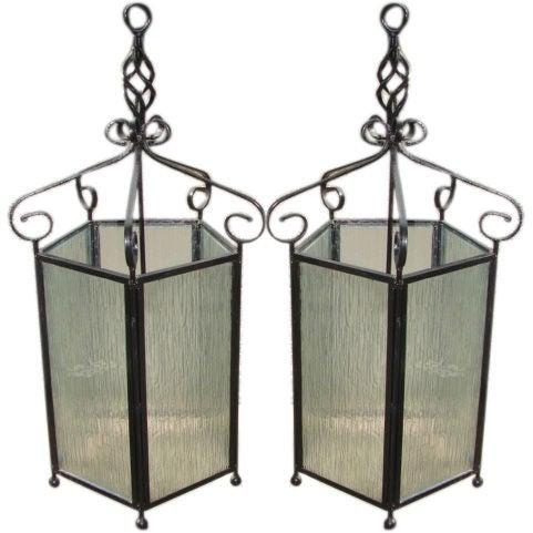 Pair Of Large Wrought Iron Hanging Lanterns At 1stdibs