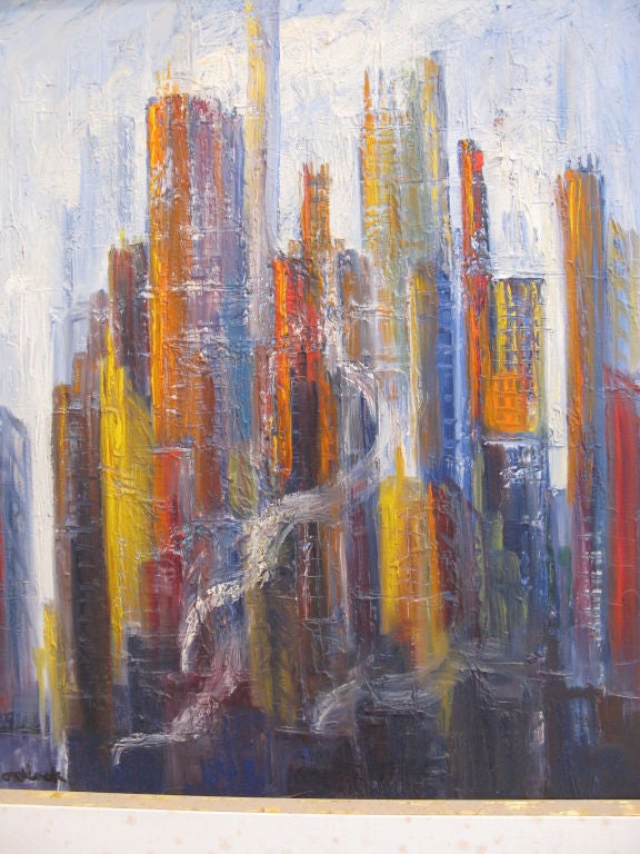 New york skyline painting by montlack edith at 1stdibs for New york skyline painting