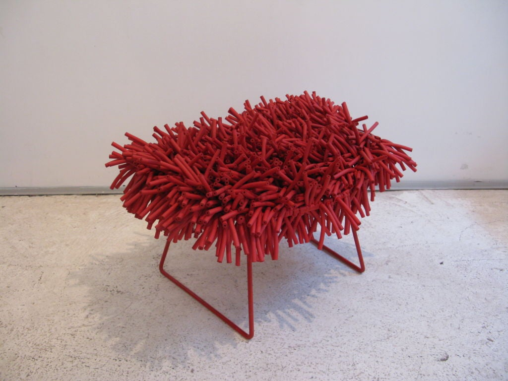 Furniture designer Douglas Homer has found an innovative and humorous way to decorate the Bertoia's classic design ottoman with sponge cord to the frame.