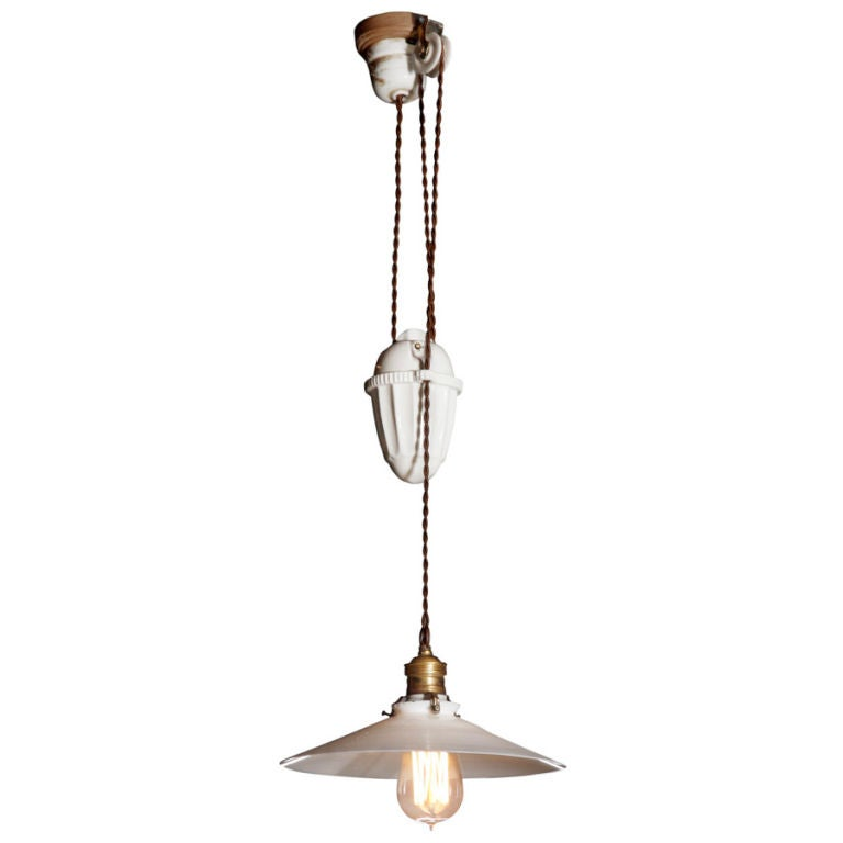 Porcelain Pulley Lamp 3 Available At 1stdibs