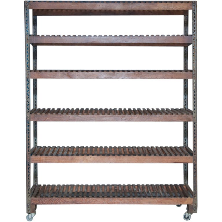 wood and metal shelving piece on wheels at 1stdibs. Black Bedroom Furniture Sets. Home Design Ideas