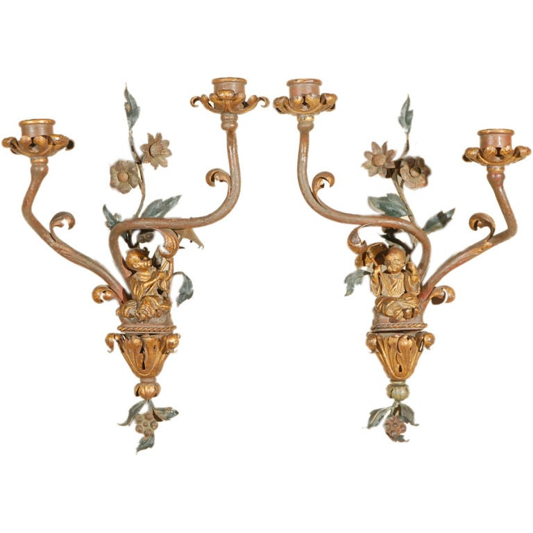 Pair of 19th Century Painted Metal Chinoiserie Sconces at 1stdibs