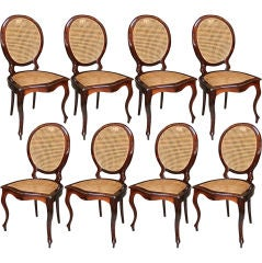 "Set of Eight 1940s Brazilian ""Medalion"" Chairs in Jacaranda"