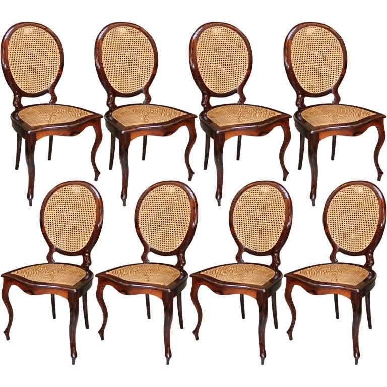Set of 1940s Brazilian Jacaranda Medallion Cane Dining Chairs 1. Set of 1940s Brazilian Jacaranda Medallion Cane Dining Chairs For
