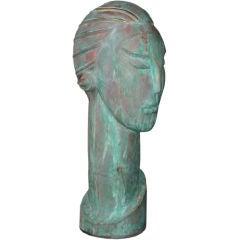 Women's Head Bronze Sculpture
