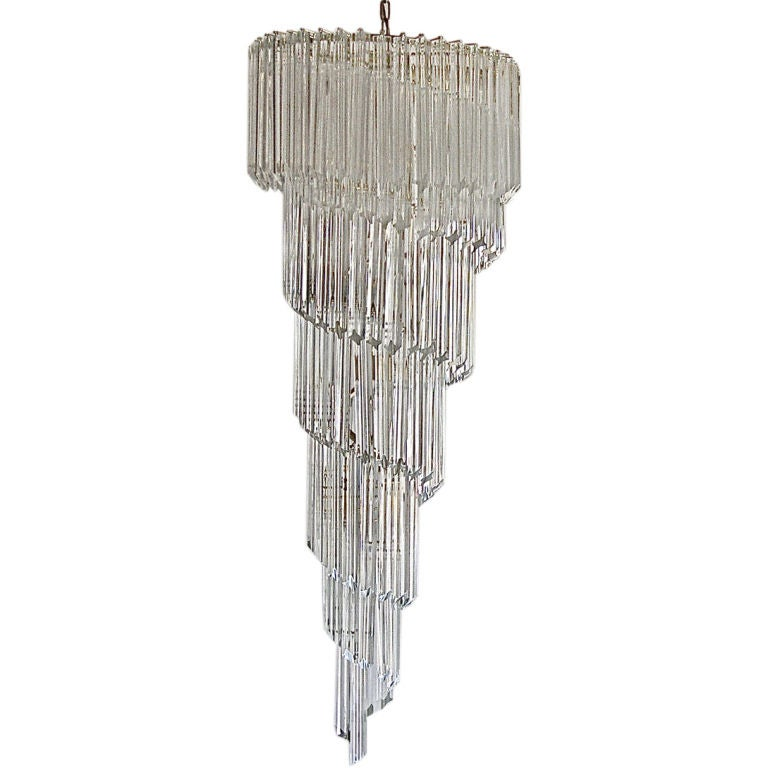 Outstanding Large Murano Crystal Spiral Chandelier By