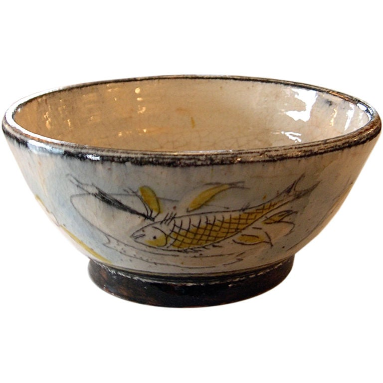 Handmade And Artist Decorated Pottery Bowl By Henry Varnum Poor At 1stdibs