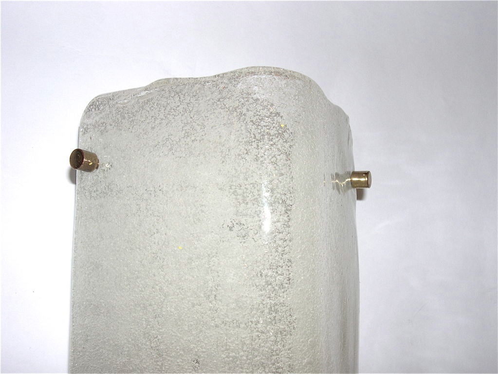 Slumped Glass Wall Sconces : Pair of Bent Slumped Textured Glass Sconces by Kalmar at 1stdibs