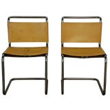 Pair of Marcel Breuer B33 leather side chairs
