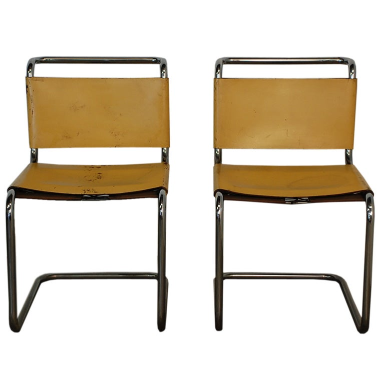 Pair Of Marcel Breuer B33 Leather Side Chairs 1