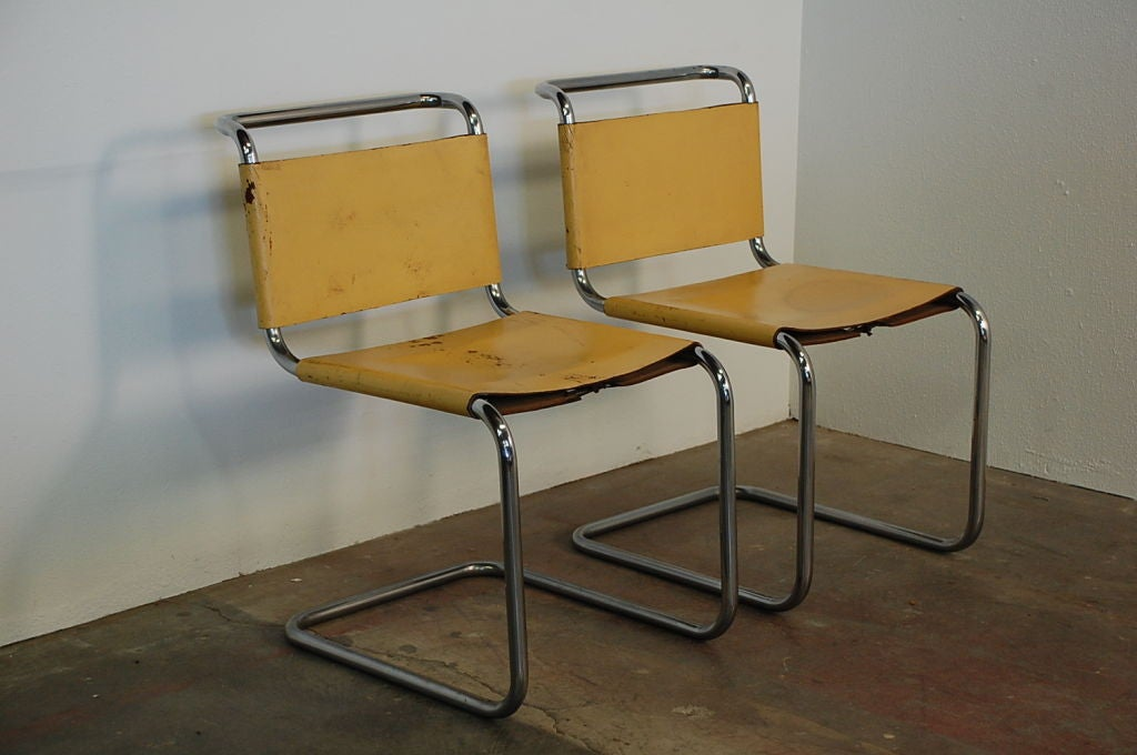 Delightful Pair Of Marcel Breuer B33 Leather Side Chairs 3