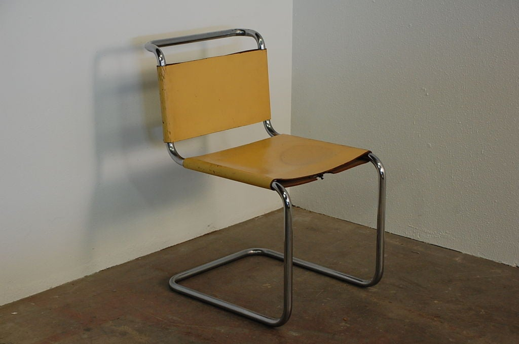 Pair Of Marcel Breuer B33 Leather Side Chairs At 1stdibs