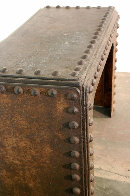 Massive Riveted French Industrial Console At 1stdibs