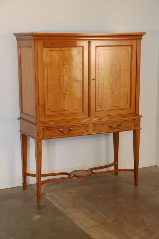 Chic French, 1940s cherrywood dry bar / cabinet by Maison Jansen. Purchased in Paris and sent to our Los Angeles gallery on Beverly Boulevard in one of our last containers.