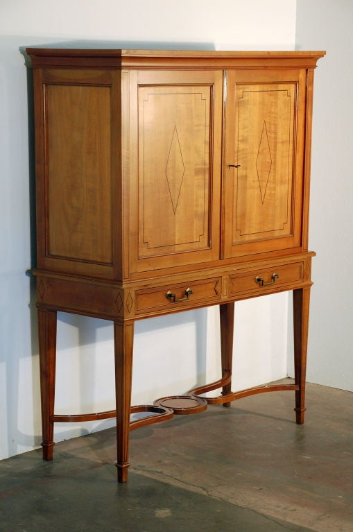 Neoclassical Revival Chic French, 1940s Cherrywood Dry Bar by Maison Jansen For Sale