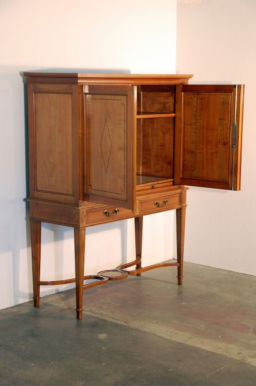 Frosted Chic French, 1940s Cherrywood Dry Bar by Maison Jansen For Sale
