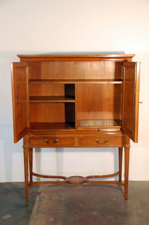Chic French, 1940s Cherrywood Dry Bar by Maison Jansen In Excellent Condition For Sale In Los Angeles, CA