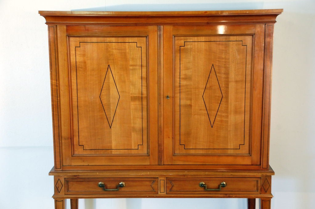 Mid-20th Century Chic French, 1940s Cherrywood Dry Bar by Maison Jansen For Sale