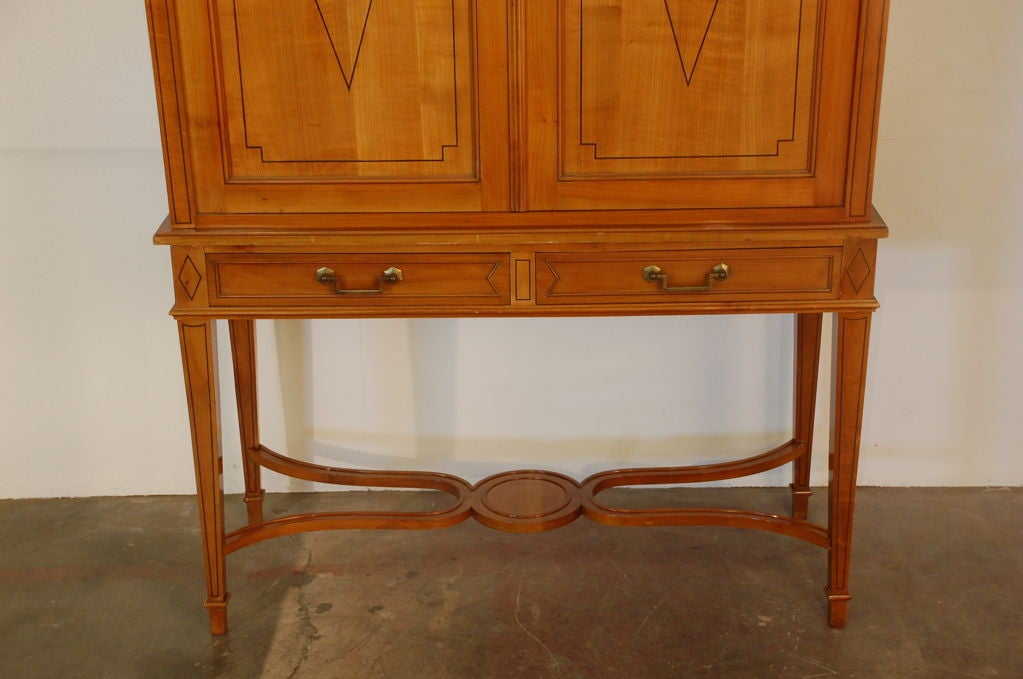 Chic French, 1940s Cherrywood Dry Bar by Maison Jansen For Sale 1