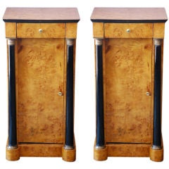 Pair of tall Biedermeier style birchwood night stands