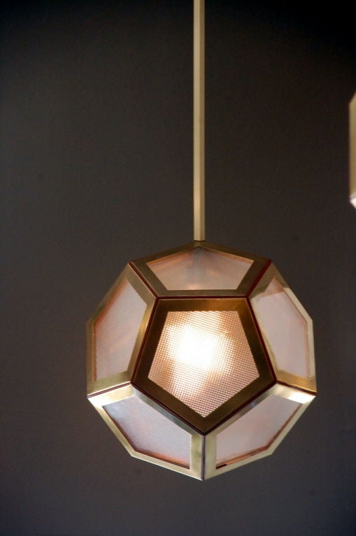 Modern Geometric Brass, Tan Leather and Glass 'Pentagone' Lantern by Design Frères For Sale