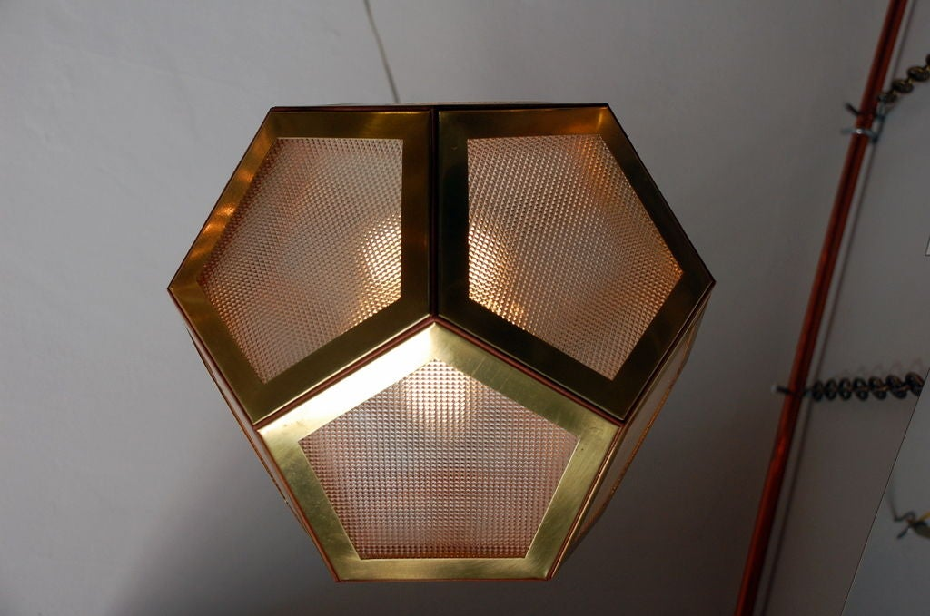 Austrian Geometric Brass, Tan Leather and Glass 'Pentagone' Lantern by Design Frères For Sale