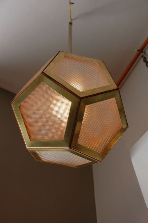 Polished Geometric Brass, Tan Leather and Glass 'Pentagone' Lantern by Design Frères For Sale