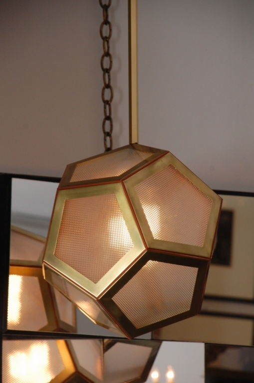 Geometric Brass, Tan Leather and Glass 'Pentagone' Lantern by Design Frères In Excellent Condition For Sale In Los Angeles, CA
