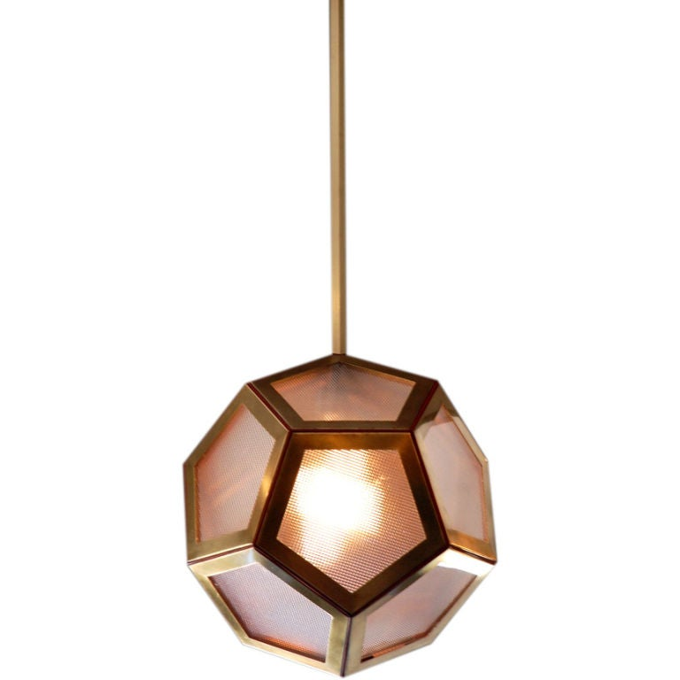 Geometric Brass, Tan Leather and Glass 'Pentagone' Lantern by Design Frères For Sale