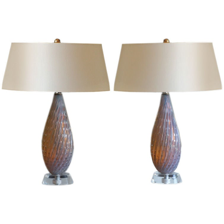 Pair Of Chic Murano Glass Bedside Table Lamps At 1stdibs